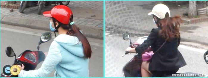 Helm khusus wanita di hanoi vietnam yang unik lubang belakang